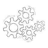 Gezeichnete Zahn- und Gangskizze des Teamwork-Konzeptes Hand lizenzfreie abbildung