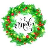 Gezeichnete Zitatkalligraphie Joyeux Noel French Merry Christmas winden Hand und Weihnachtsstechpalme für Feiertagsgrußkarten-Hin Stockbild