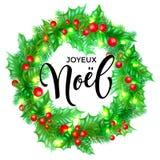 Gezeichnete Zitatkalligraphie Joyeux Noel French Merry Christmas winden Hand und Weihnachtsstechpalme für Feiertagsgrußkarten-Hin Stockfotografie