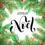 Gezeichnete Zitatkalligraphie Joyeux Noel French Merry Christmas winden Hand und Weihnachtsstechpalme für Feiertagsgrußkarten-Hin Lizenzfreies Stockbild