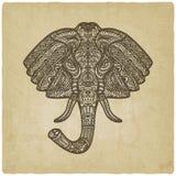 Gezeichneter alter Hintergrund des Musters des Elefanten Hand Stockfotos
