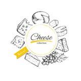 Gezeichneter Aufkleber des Vektors Hand mit Käse Konzept für Gaststätte vektor abbildung