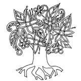 Gezeichneter einfarbiger stilisierter Baum des Gekritzels des Hintergrundes Hand, Vektorillustration auf Lager für Netz, für Druc Stockfotos