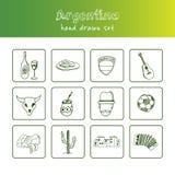 Gezeichneter Gekritzelsatz Argentiniens Hand skizzen Vektorillustration für Design- und Paketprodukt Symbolsammlung Stockfotos