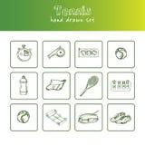 Gezeichneter Gekritzelsatz des Tennis Hand skizzen Vektorillustration für Design- und Paketprodukt Symbolsammlung Getrennt Stockfotos