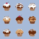 Gezeichneter gesetzter Vektor der Schokolade Muffin stock abbildung