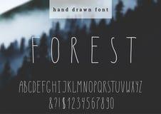 Gezeichneter Guss des Vektors Hand Moderne schmale Buchstaben Hand gezeichnete Typografie auf unscharfem Hintergrund Lizenzfreie Stockfotografie
