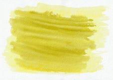 Gezeichneter Hintergrund des gelbes Goldhorizontale Aquarells Hand Schöne harte Anschläge des Pinsels Lizenzfreie Abbildung