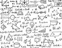 Gezeichneter Hintergrund Formeln Mathe und der Trigonometrie Hand Stockbild