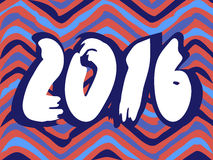 Gezeichneter Hintergrundzickzack 2016 neuen Jahres Hand Lizenzfreie Stockfotografie