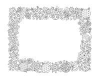 Gezeichneter horizontaler Rahmen des neuen Jahres Hand, zentangle spornte Art an Stockbild