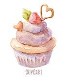 Gezeichneter kleiner Kuchen des Aquarells Hand perfekt für Einladungen, Karten, Abendessen und Menüschablonen Lizenzfreie Stockfotos