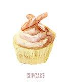 Gezeichneter kleiner Kuchen des Aquarells Hand perfekt für Einladungen, Karten, Abendessen und Menüschablonen Stockbild