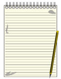 Gezeichneter Reporter Notepad With Pencil Lizenzfreies Stockbild