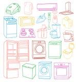 Gezeichneter Satz der Haushaltsgeräte Hand Stockbilder