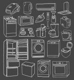 Gezeichneter Satz der Haushaltsgeräte Hand Lizenzfreie Stockfotografie