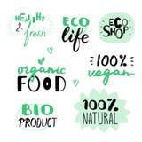Gezeichneter Satz des Vektors Hand strenger Vegetarier und natürliche Aufkleber Ökologisch und biologisches Lebensmittel vektor abbildung