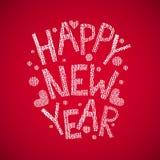 Gezeichneter Text des guten Rutsch ins Neue Jahr Hand Stockbilder