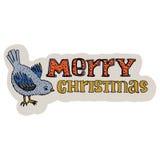 Gezeichneter Titel der frohen Weihnachten Hand Weihnachtsmann auf einem Schlitten Überlagert, einfach zu bearbeiten Tomtit-Vogel  Stockbild