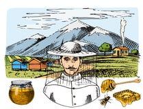Gezeichneter Weinlesehonig des Bienenhausbauernhofvektors Hand, der Landwirtimkerillustrations-Naturprodukt durch Biene macht Stockfotos
