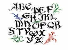 Gezeichnetes Alphabet des Aquarells Hand Auch im corel abgehobenen Betrag Bürste gemalte Buchstaben Lizenzfreie Stockfotografie