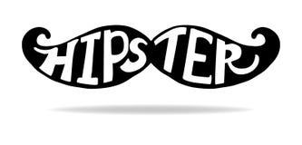 Gezeichnetes artsy schwarzes Schattenbild des Hippie-Schnurrbartvektors in der Hand mit weißer Typografie Lizenzfreie Stockfotos