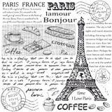 Gezeichnetes Bild Paris-Symbols Hand im Rahmen mit Gestaltungselementsatz Stockbilder