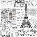 Gezeichnetes Bild Paris-Symbols Hand im Rahmen mit Gestaltungselementsatz Lizenzfreie Stockbilder