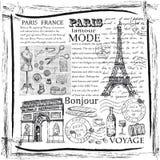 Gezeichnetes Bild Paris-Symbols Hand im Rahmen mit Gestaltungselementsatz Stockfoto