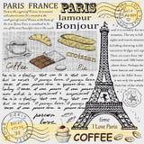 Gezeichnetes Bild Paris-Symbols Hand im Rahmen mit Gestaltungselementsatz Lizenzfreies Stockbild