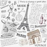 Gezeichnetes Bild Paris-Symbols Hand im Rahmen mit Gestaltungselementsatz Lizenzfreies Stockfoto