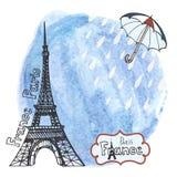 Gezeichnetes Bild Paris-Symbols Hand im Rahmen mit Gestaltungselementsatz Aquarellspritzen, Regenschirm, Regen Lizenzfreies Stockbild