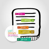 Gezeichnetes Design und infographics Liste des Vektors Hand Lizenzfreie Stockbilder