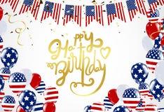 Gezeichnetes Einladungsdesign c alles Gute zum Geburtstag Amerika-Beschriftung Hand Lizenzfreies Stockfoto