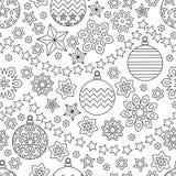 Gezeichnetes festliches nahtloses Muster des Entwurfs des neuen Jahres Hand mit Schneeflocken Lizenzfreies Stockbild