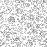 Gezeichnetes festliches nahtloses Muster des Entwurfs des neuen Jahres Hand mit Schneeflocken Lizenzfreie Stockfotografie