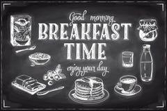 Gezeichnetes Frühstück des Vektors Hand und Niederlassungshintergrund Stockbild
