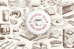 Gezeichnetes Frühstück des Vektors Hand und Niederlassungshintergrund Stockfotografie
