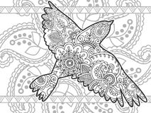 gezeichnetes Gekritzel der Fliegenvögel Schwarzweiss-Tierhand lizenzfreie stockfotos