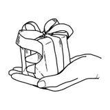 Gezeichnetes Gekritzel Illustations-Vektors Hand der Hand eine Geschenkbox halten Stockfotografie
