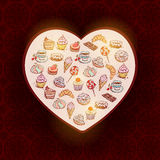 Gezeichnetes gesetztes Hörnchen der Süßigkeiten der Karte Hand Lizenzfreie Stockbilder