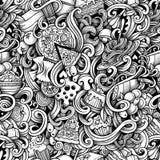 Gezeichnetes italienisches Lebensmittel der Karikatur Hand kritzelt nahtloses Muster Stockbilder