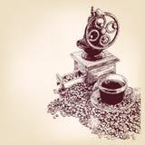 Gezeichnetes llustration Vektor des Kaffees Hand Lizenzfreie Stockfotos
