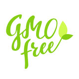 Gezeichnetes Logo GMOs Handlungsfreiheit, Aufkleber, mit Blatt und Sprössling Vector Illustration ENV 10 für Lebensmittel und Get Stockbild