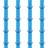 Gezeichnetes Muster des Ankers Hand auf blauen Streifen Lizenzfreie Stockfotos