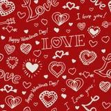 Gezeichnetes Muster des Valentinsgrußes Hand Stockfoto