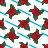 Gezeichnetes Muster Rose Hand auf blauen Streifen Stockbilder