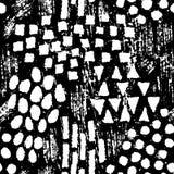 Gezeichnetes nahtloses Muster der abstrakten Formen der Tinte Hand Lizenzfreie Stockbilder