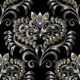 Gezeichnetes nahtloses Muster der Weinlese Blumenhand Schwarze Vektorweinlese Lizenzfreies Stockfoto