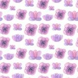 Gezeichnetes nahtloses Muster des Aquarells Hand mit Blumen Lizenzfreies Stockfoto